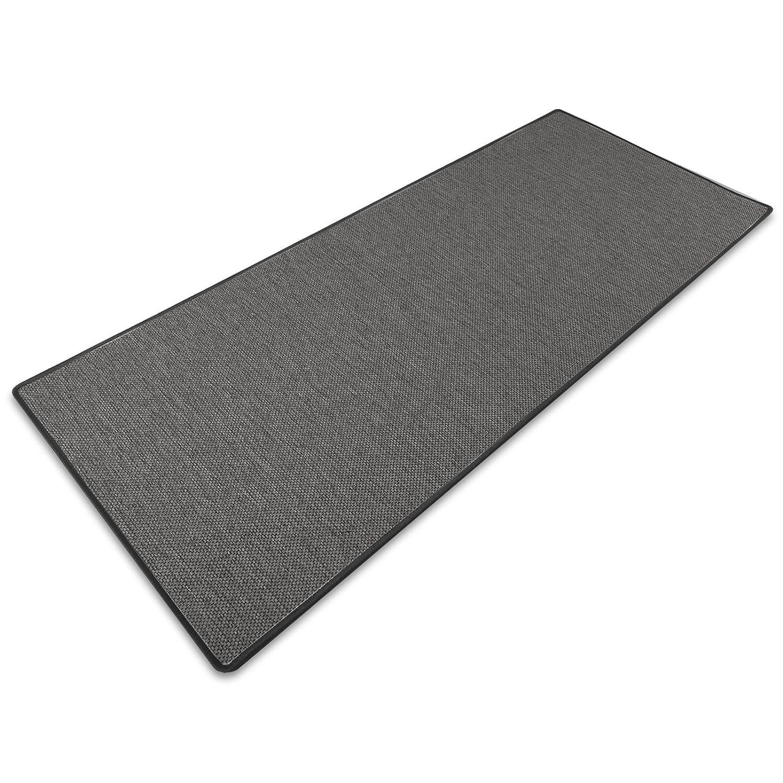 Teppich / Läufer Sabang | anthrazit, Sisaloptik | Qualitätsprodukt aus Deutschland | GUT Siegel | kombinierbar mit Stufenmatten | viele Größen (100x400 cm) Küchenläufer Flurläufer Teppichl&am