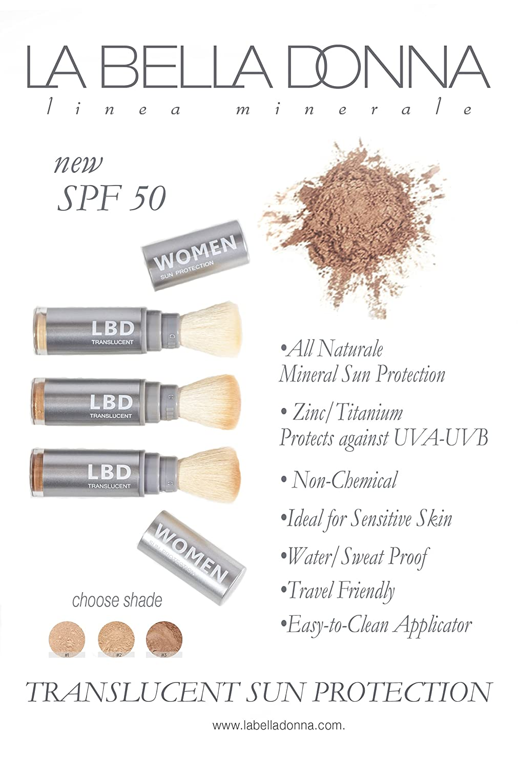 La Bella Donna Natural Mineral Women's Waterproof SPF 50 Powder Sunscreen  with Exclusive Dial System Dispensing Brush - 5g (Fair Skin): Amazon.co.uk:  Beauty