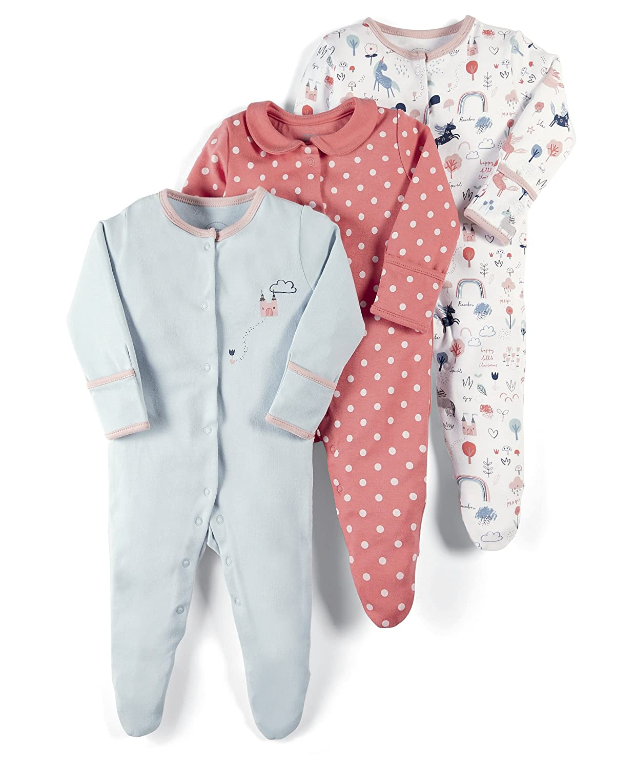 Mamas and Papas Baby Girls' 3 Pack Unicorn Sleepsuits Footies, 0-3 Months Pack of 3 S79FGA6B2