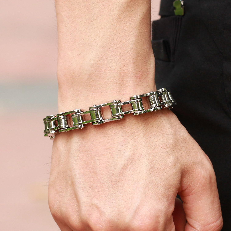 Amazon.com: New Men\'s Titanium Stainless Steel Bracelet Harley ...