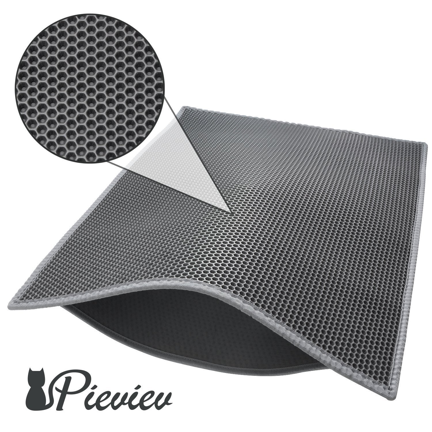 Pieviev Cat Litter Mat Litter Tray Mat of Large Size 30 x 24 Double Layer Honeycomb Large Holes Design Waterproof EVA Material BPA Free Soft on Paws and Washable Black
