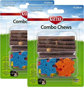 Kaytee 2 Pack of Combo Chews, 16 Pieces each, Apple Wood and Loofah Puzzle for Small Pets