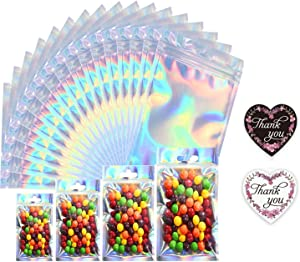 50Pcs Mylar Packaging Bags Holographic Reusable Smell Proof Flat Ziplock Storage Bags for Snack Coffee Beans Candy Nuts Soap Sample Lip Gloss Jewelry with Free 50Pcs Thank You Stickers(3.5x4.7in)