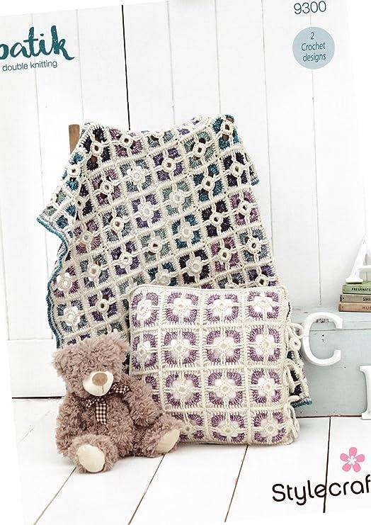 Stylecraft 9300 Crochet patrón cuna edredón y funda de ...