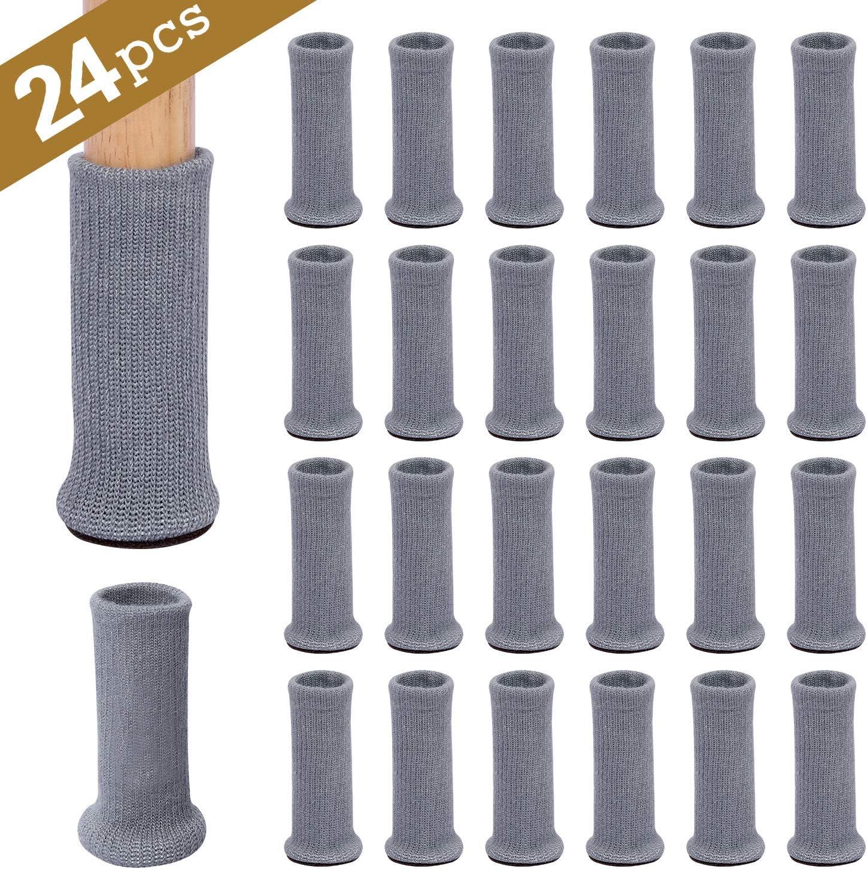 pour /éviter Les Rayures et r/éduire Le Bruit Se d/éplacer Facilement Gris Ezprotekt Lot de 24 Paires de Chaussettes de Meubles en Tricot antid/érapantes pour Pieds de chaises