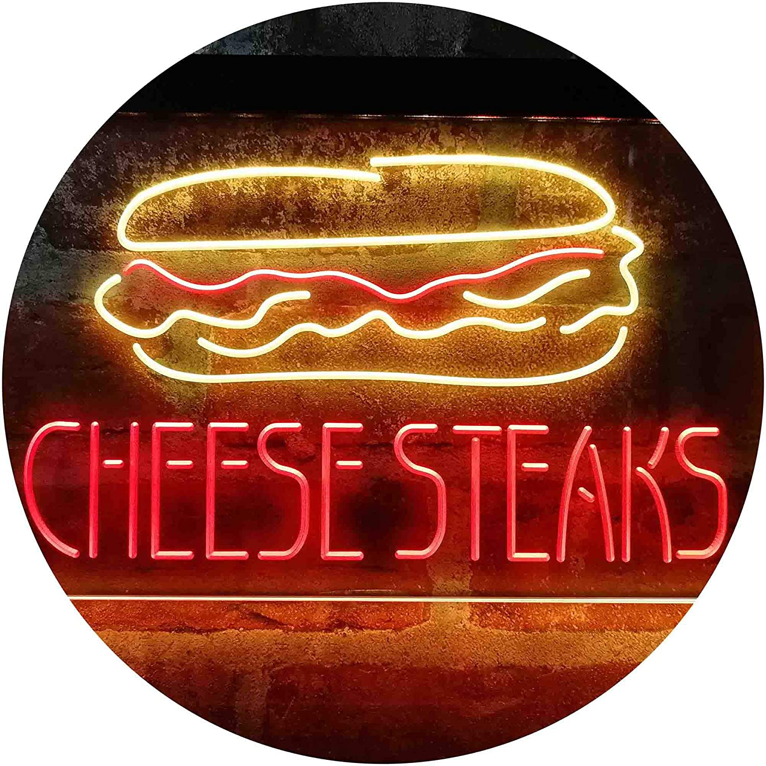 ADVPRO Cheese Steaks Fast Food Store Dual Color LED Neon Sign Red & Yellow 24 x 16 Inches st6s64-i4027-ry