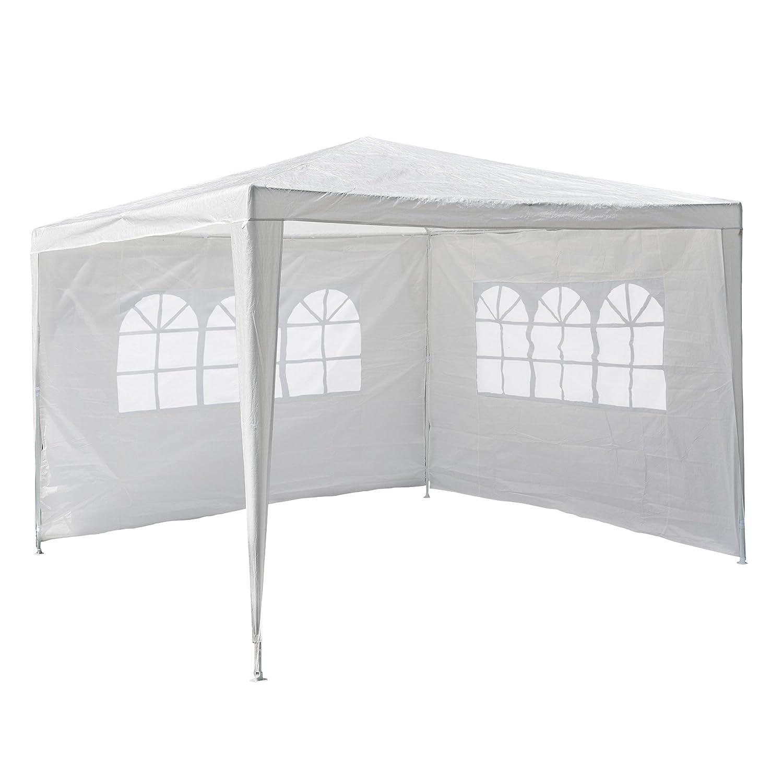 Nexos gm36090PE del Padiglione gazebo da giardino con 2pannelli laterali per giardino terrazza mercato Camping Festival come tettoia e Plane, impermeabile 3x 3m Bianco