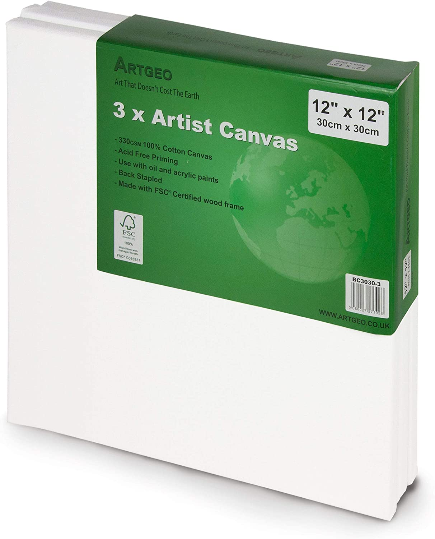 Canvas dellartista confezione da 3 30cm x 30cm ArtGeo FSC