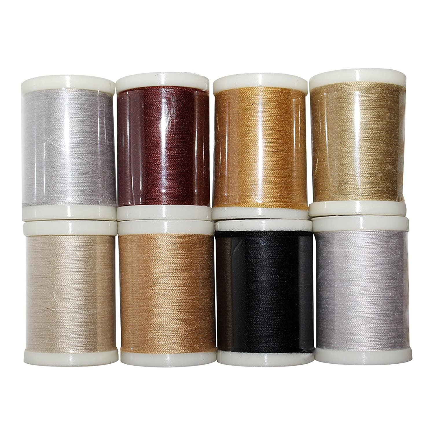 Curtzy 8 Pack of Polyester Sewing Thread - Assorted Colours Embroidery Spools Set- Ideal for Machine Overlock, Sewing, Cross Stitch and Hand Needle Work - Kit for Arts and Crafts CH-210
