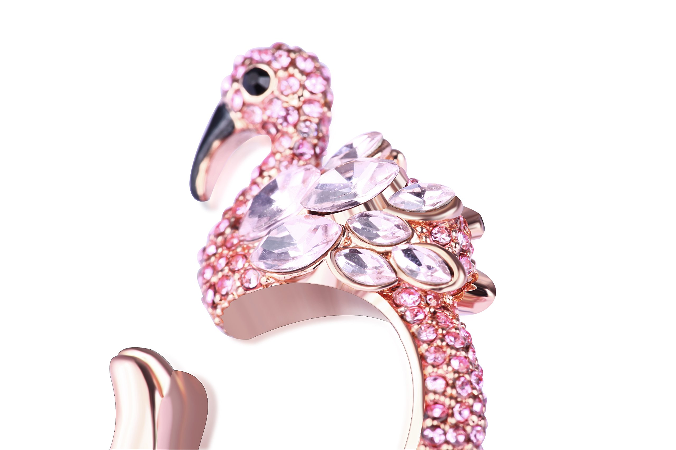 Animal Ring Cute Flamingo for Young Womens Gifts Mom Birthday Teens Girls Party Cuff Statement Ring (Pink) by Paitse (Image #4)