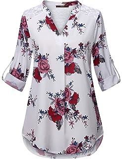 b6e68560e2c5c2 TWGONE Floral Blouses for Women Plus Size Belted Surplice Peplum V ...