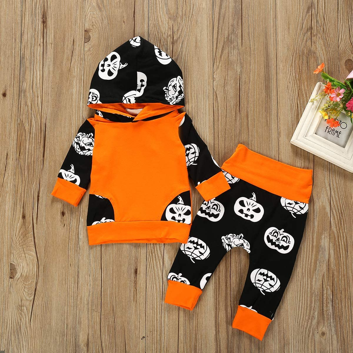 Pants Lot Baby Toddler Pumpkin Halloween Conjuntos Set Hooded Hoodie puseky 2pcs