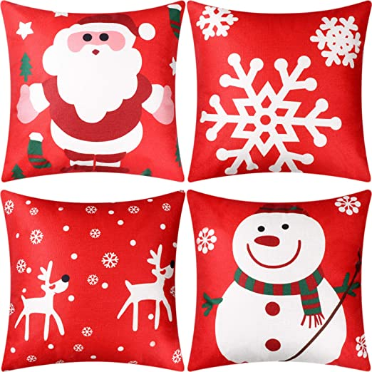 Christmas Pillow Cases Throw Cushion Covers Decorations for Halloween Thanksgiving Christmas Autumn