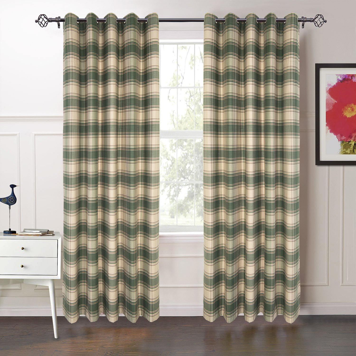 "IYUEGO 50"" W x 63"" L (One Panel), Classic Country Plaid Jacquard Grommet Top Curtains Draperies With Multi Size Custom"