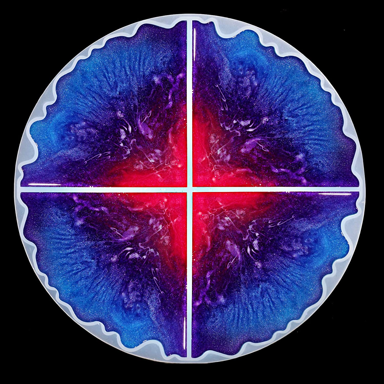 resin art decor Purple and Blue Resin Round Coaster
