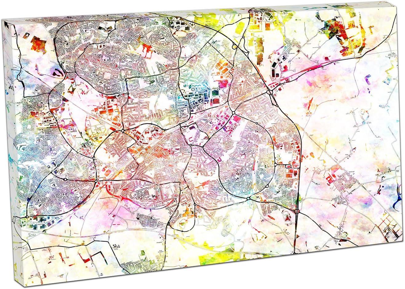 EACanvas Swindon Inglaterra Calle Mapa Nombres y Nombres de Carretera Ciudad Ciudad Colorido Mapa, 61 x 41 x Depth 4cm: Amazon.es: Hogar