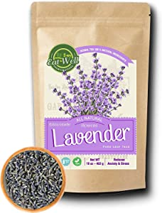 Eat Well Premium Foods- Lavender Flowers 4 oz Reseable Bag,Bulk, Dried Culinary Lavender Buds, Herbal Tea , Relaxing,Sleep Well, Aromatherapy, Crafts Potpourri,Home Fragrance