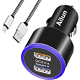 Ailun Fast Car Charger QC3.0 Adapter 1M Type-C Cable,Dual USB Port 35W Mobile Device Compatible Galaxy S9 S9+,S8 S8+ Note 8 9[Black]