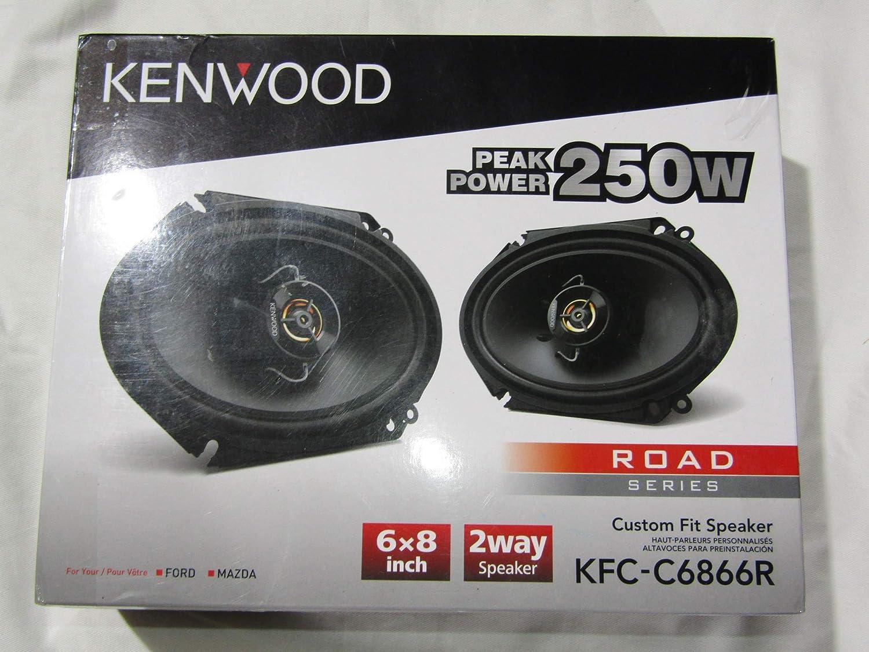Pair Black Kenwood KFC-C6866R Road Series 6 x 8 2-Way Car Speakers with Cloth Cones
