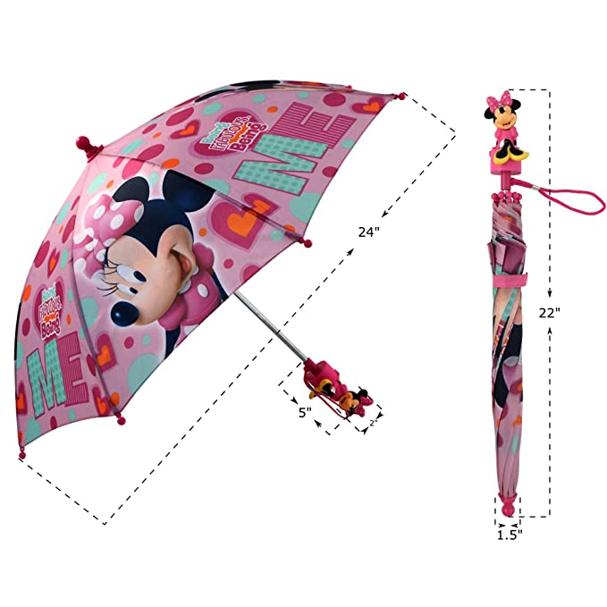 Disney Girls Little Minnie Mouse Character Rainwear Umbrella, Pink, Age 3-7