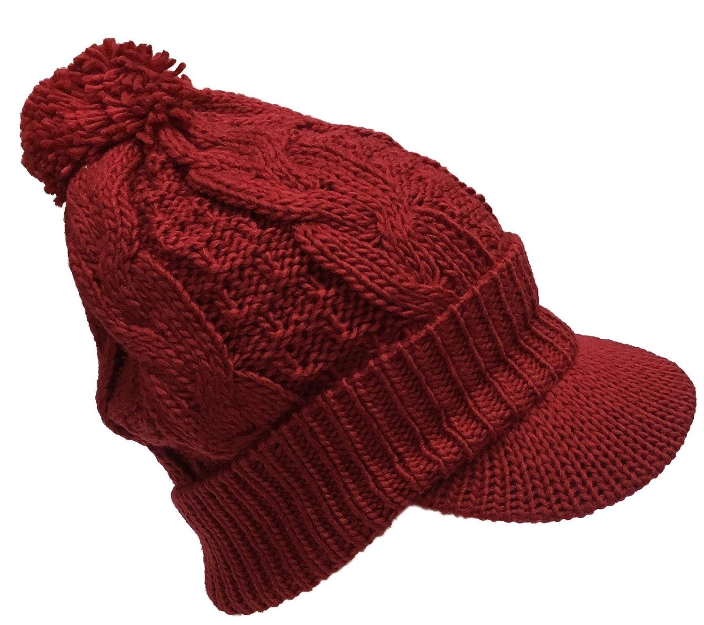 22d6232daf0ef Amazon.com  N Ice Caps Women s Fleece Lined Bulky Cable Knit Jockey Brim  Winter Hat (One Size