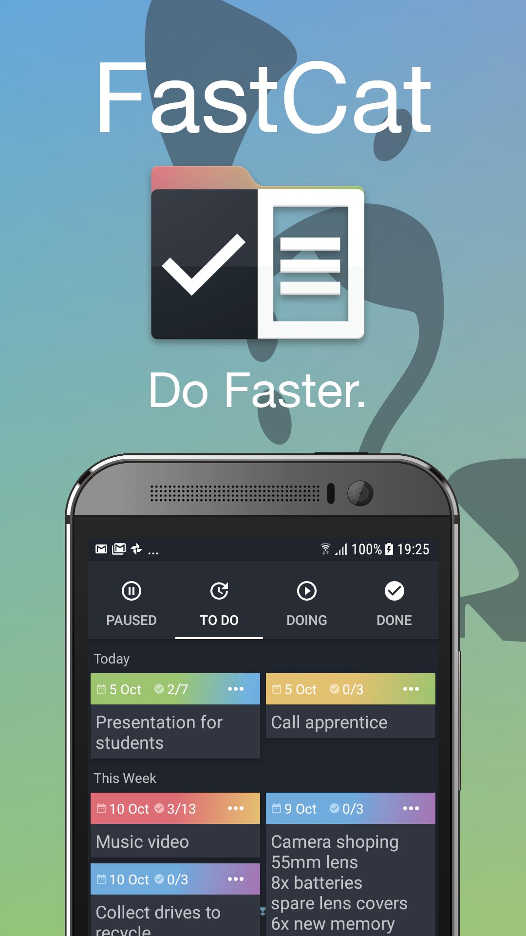 fastcat tasks and to do list kanban board