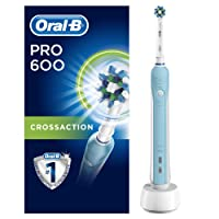 Oral-B Pro 600 CrossAction Electric Toothbrush Rechargeable Powered by Braun (UK 2-Pin Bathroom Plug)