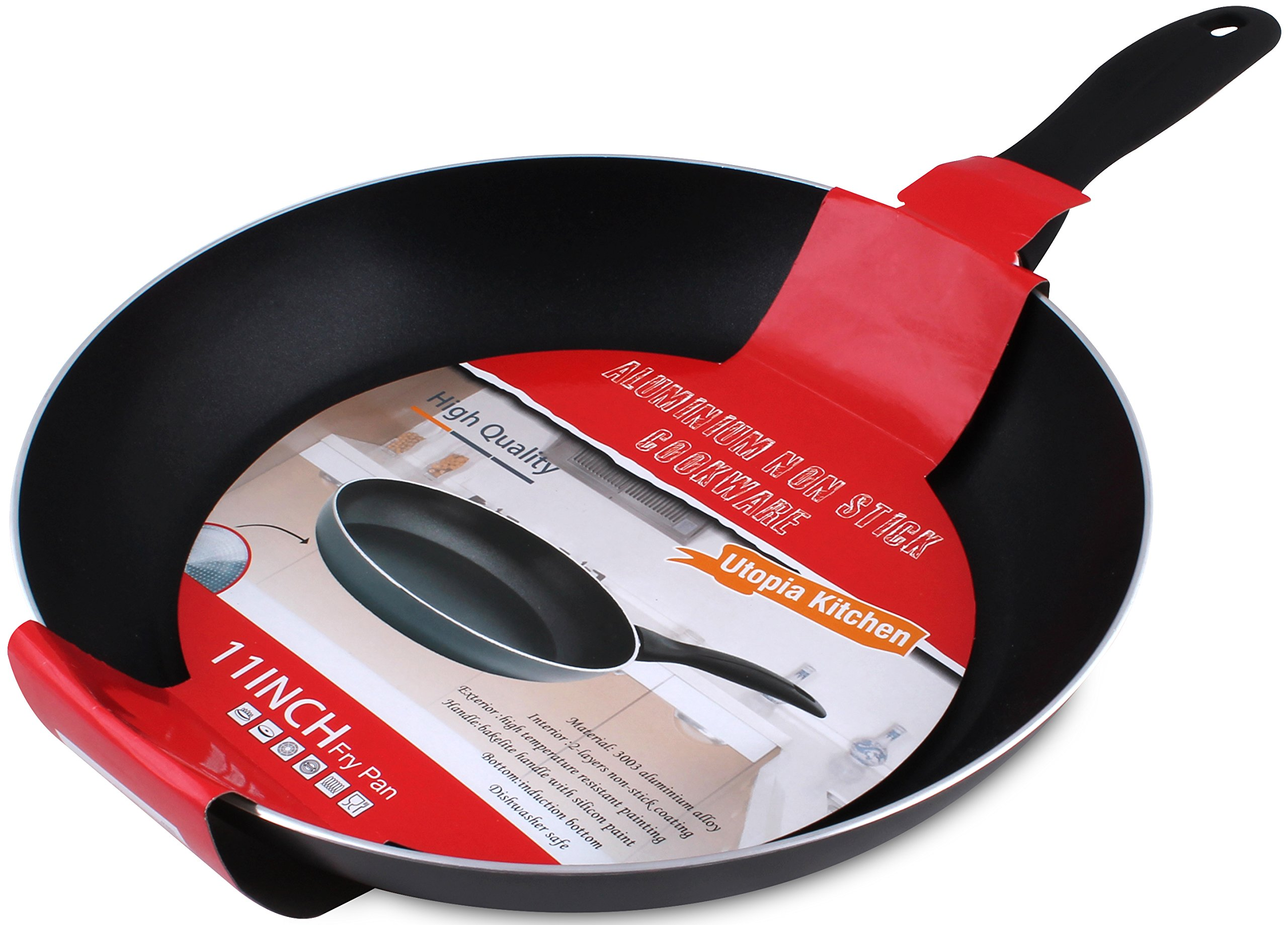 Induction Bottom Aluminum Nonstick Frying-Pan Grey Fry Pan - 11 inches Dishwasher Safe Cookware - by Utopia Kitchen by Utopia Kitchen (Image #2)