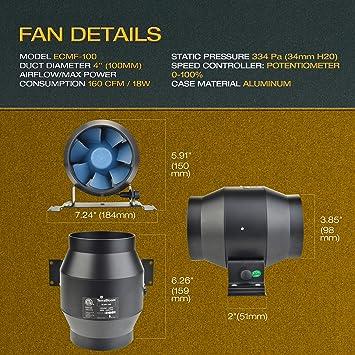 Protection 4 Couches Refroidissement et /échappement 2,4 m de Long pour Chauffage AC Infinity Conduit Flexible en Aluminium 15,2 cm