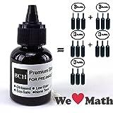 Black Stamp Refill Ink by BCH - Oil-Based 1 oz Bottle for Roller Stamp or Pre-Inked Rubber Gel Pads - 30ml