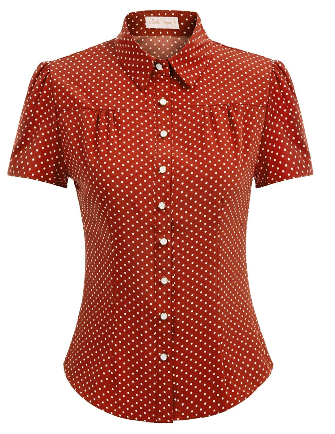 1940s Blouses and Tops Belle Poque Womens Polka Dot Shirt Tops 1950s Retro Short Sleeve Blouse Tops $19.99 AT vintagedancer.com
