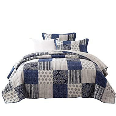 DaDa Bedding Patchwork Bedspread Set - Denim Blue Elegance 100% Cotton Quilted - Bright Vibrant Multi Colorful Navy Floral - King - 3-Pieces