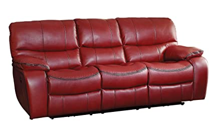Homelegance Pecos Modern Design Power Double Reclining Sofa Leather Gel  Match, Red