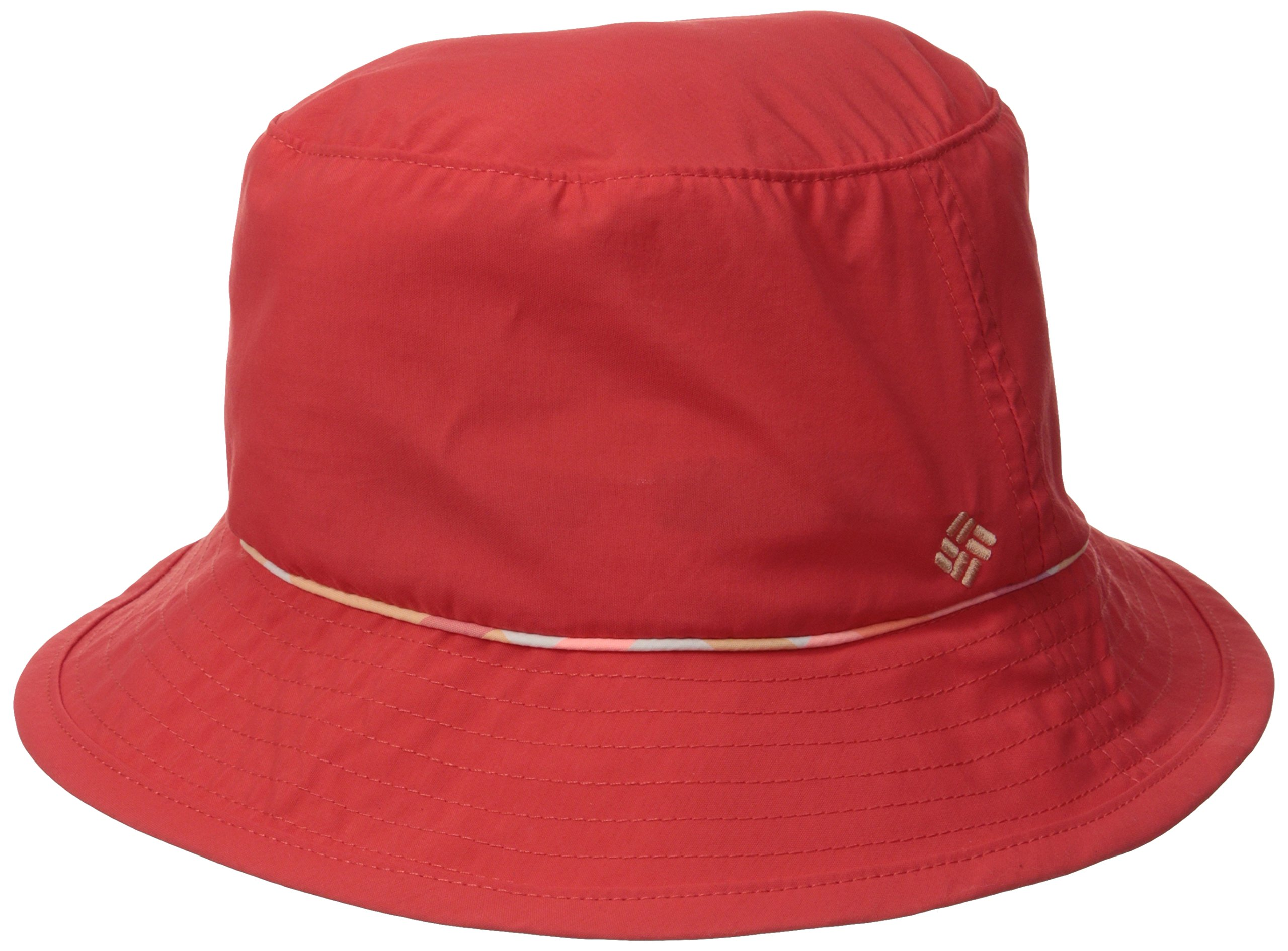 Columbia Women's Bahama Bucket Hat, Red Hibiscus/Peach Shadow Check, Large/X-Large
