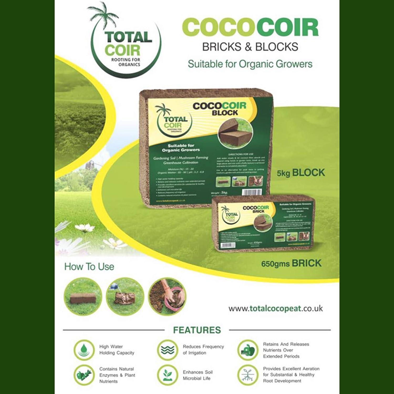 COCONUT COIR BRICKS 100% NATURAL ORGANIC COCONUT FIBRE