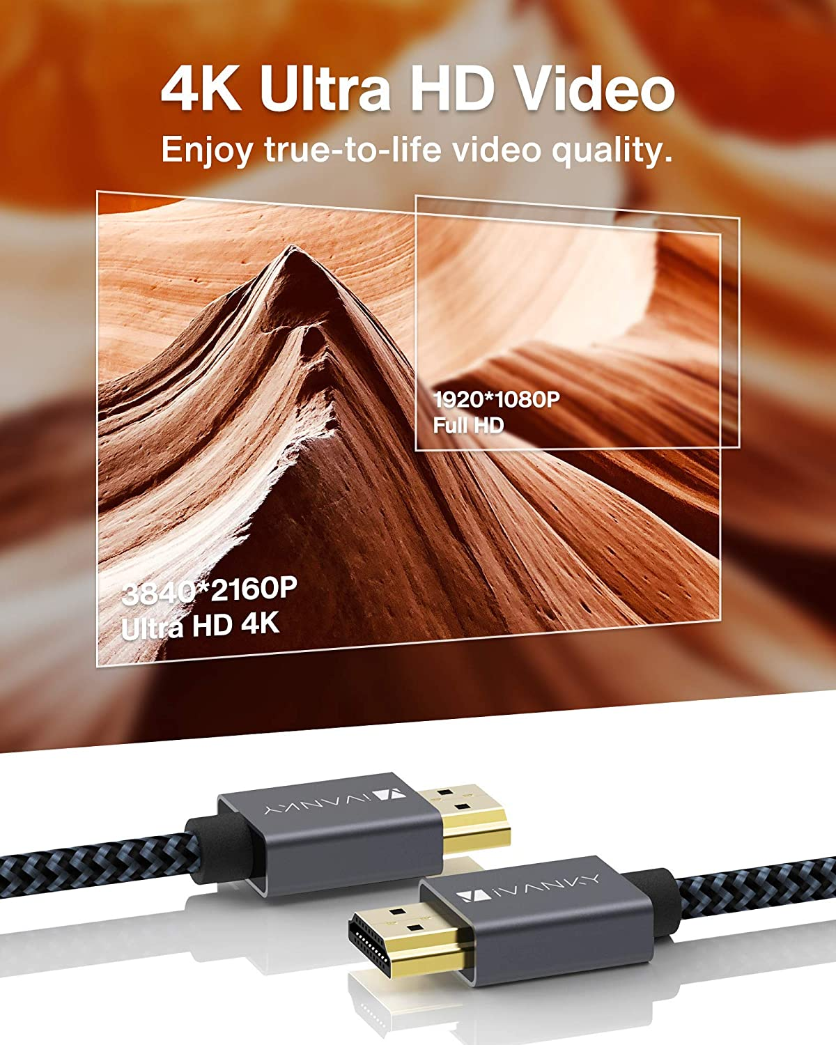 iVANKY Cable HDMI 1,2m Ultra HD 4K, HDMI 2.0 Cable 18Gbps, Compatible con 4K@60HZ, Ultra HD, 3D, Full HD 1080p, HDR, ARC, Alta Velocidad con Ethernet, ...