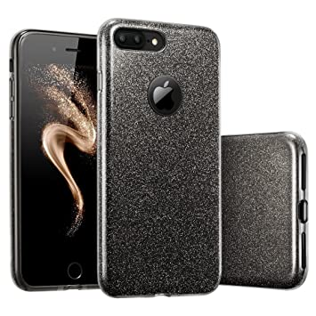 Coovertify Funda Purpurina Brillante Negra iPhone 7 Plus, Carcasa resistente de gel silicona con brillo negro para Apple iPhone 7 Plus (5,5)