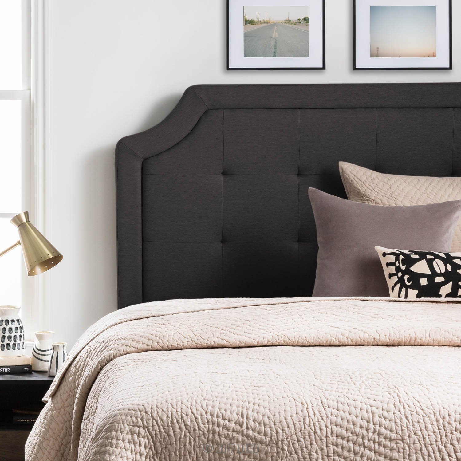 LUCID Bordered Upholstered Headboard with Square Tufting and Scalloped Edges King/California King Charcoal by LUCID