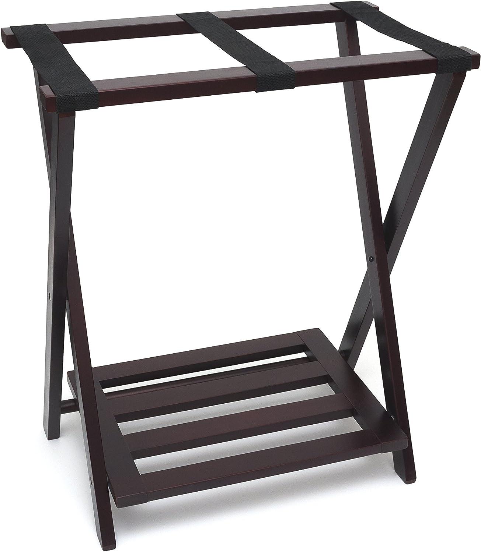 Lipper International 502E Right Height Folding Luggage Rack with Bottom Shelf, Espresso Finish