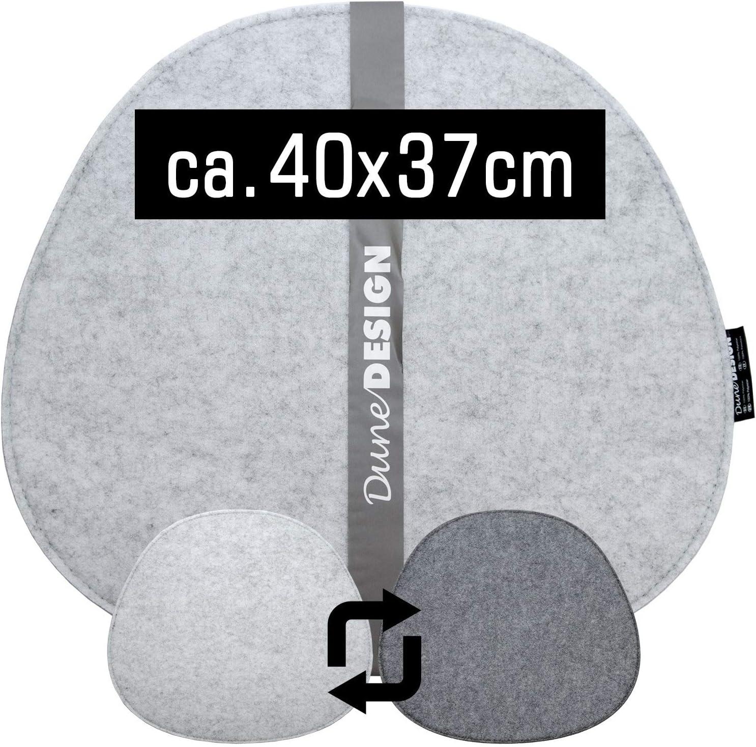 DuneDesign Cuscino Ovale di Feltro per Sedie 40x37cm Sottile 8mm Bicolore Grigio