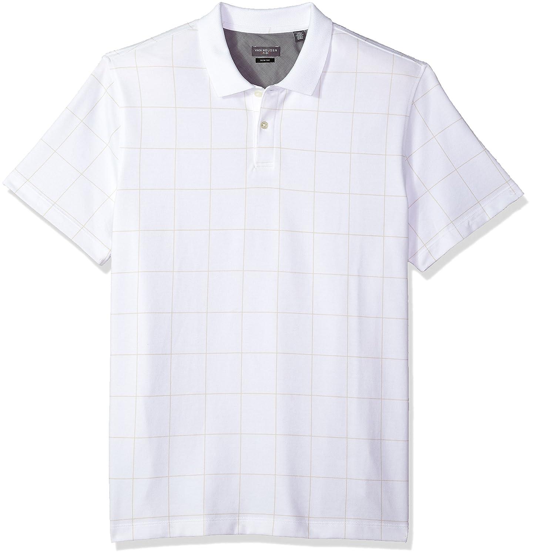 Van Heusen Mens Slim Fit Short Sleeve Printed Windowpane Polo Shirt at Amazon Mens Clothing store: