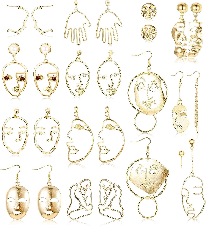 Finrezio 13 Pares De Aretes De Cara Para Mujer Con Cara Hueca Pendientes Colgantes Mano Pendientes Joyería De Arte Abstracto Platino/Chapado En Oro