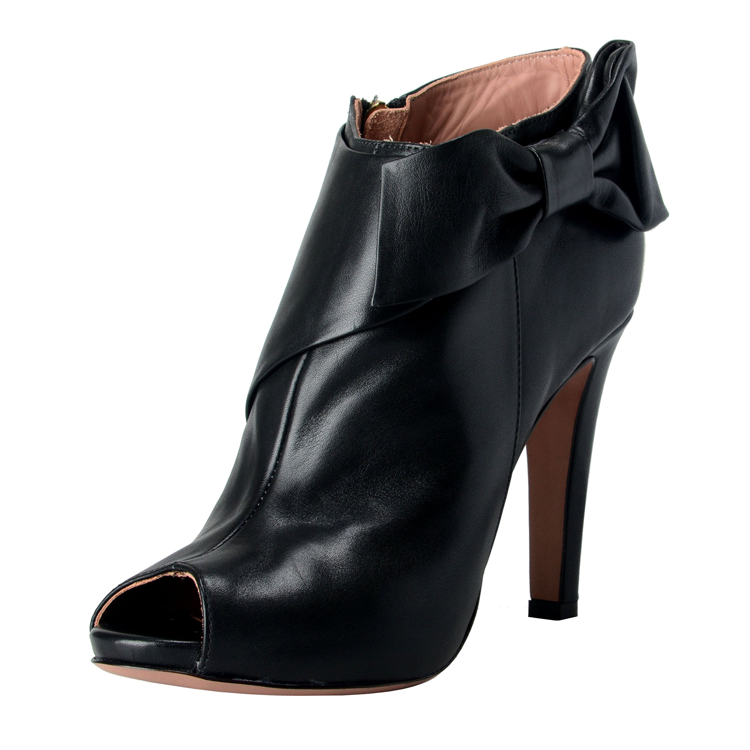 Red Valentino Women's Black Leather High Heel Open Toe Boots Shoes US 10 IT 41