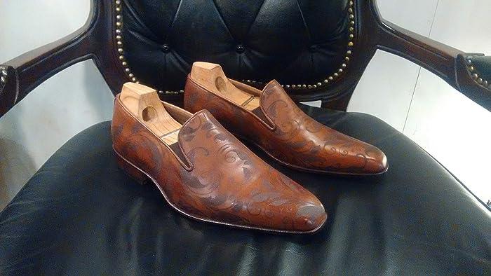c6c55df01f40 Amazon.com  Handmade Cognac Laser engraved Loafers For Men Custom Made Shoes  for Men  Handmade