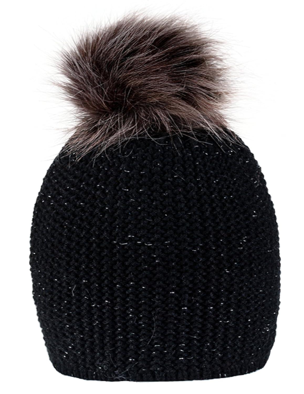 Gorro de punto 4sold para mujer, de lana y forro polar, para invierno, con pompón grande de pelo, pa...