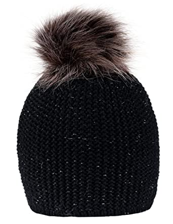 82f699a156a 4sold Blink Womens Girls Winter Hat Wool Knitted Beanie with Large Pom Pom  Cap SKI Snowboard Hats Bobble (Black)  Amazon.co.uk  Clothing