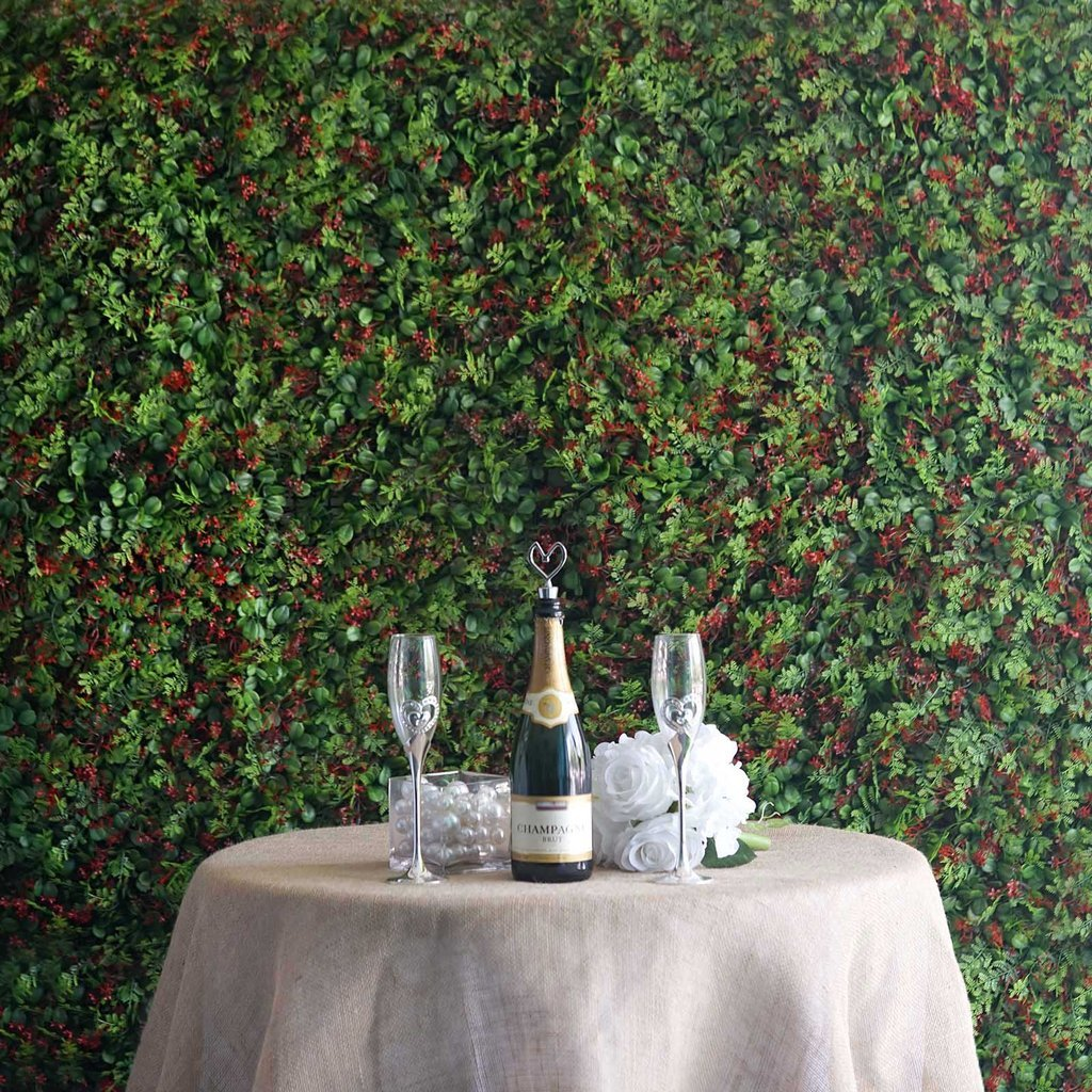 efavormart 4パックグリーンUV保護された人工フェイクFoliage Boxwood Fern &花壁マット写真ブースガーデンパネル – レッド/グリーン B07F3MHQD2