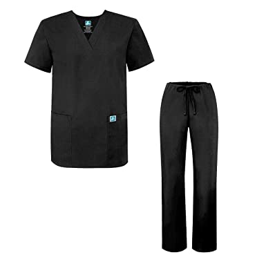 size 40 2a45d ad1c4 Adar Universal Medical Scrubs Set Medical Uniforms - Unisex Fit - 701 - BLK  - 3X