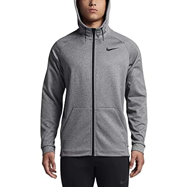 3f0464ab6 Nike Mens Therma Essential Training Full Zip Hoodie Carbon Heather/Black  868323-091 Size Medium at Amazon Men's Clothing store: