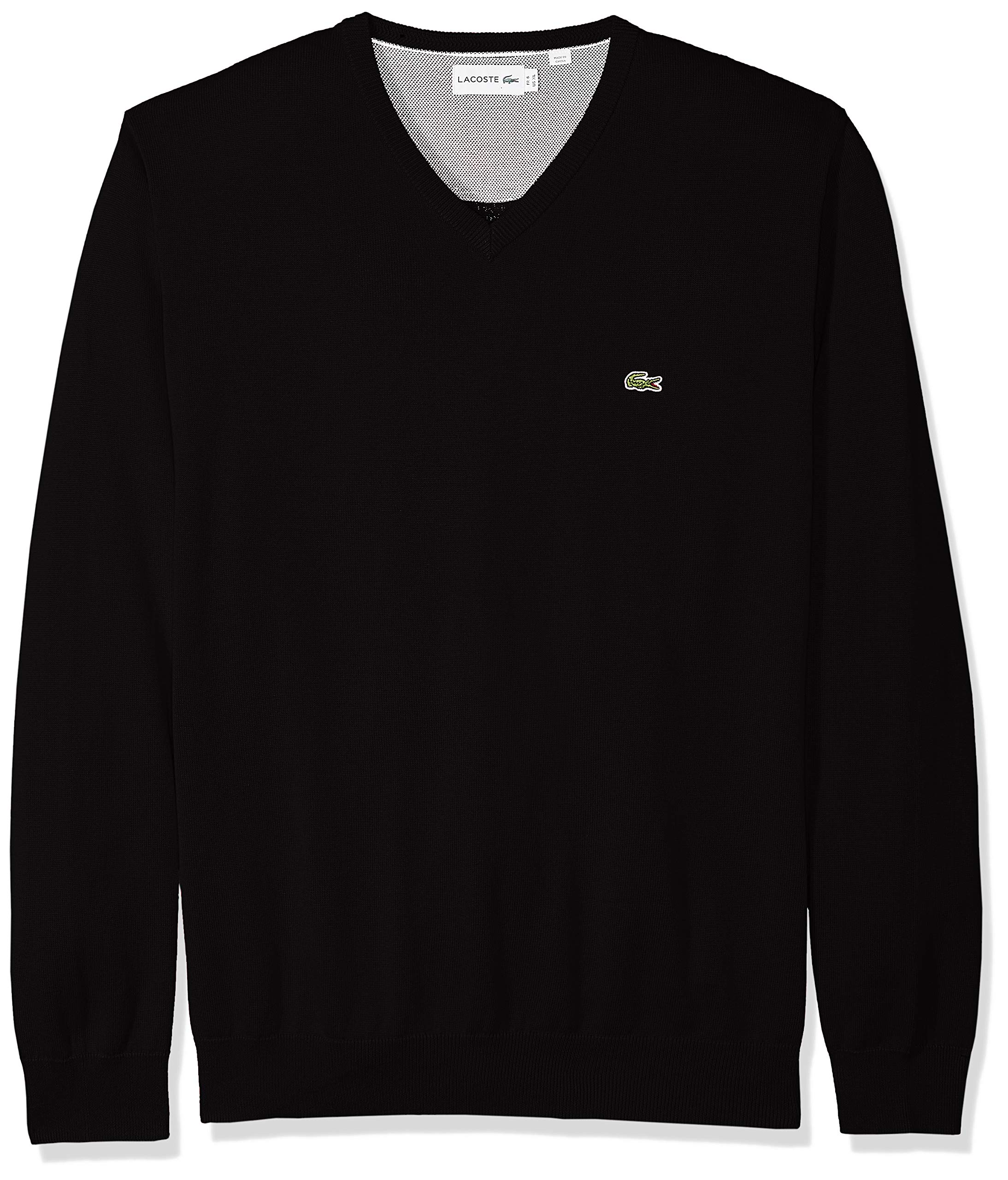 Lacoste Men's Long Sleeve Half Moon V Neck Jersey Sweater, Flour/Black, XX-Large